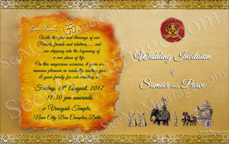 Subhalekha South Indian Theme Traditional Wedding Invitation – Indian Traditional Wedding Cards