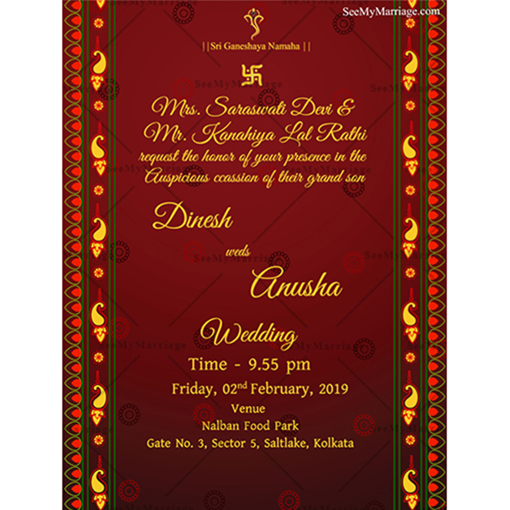 Red Carpet – Traditional Indian Style Red Theme Wedding Whatsapp Invitation  E-Card – SeeMyMarriage