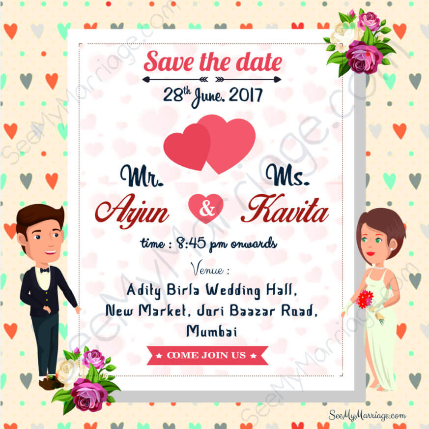 Christian Wedding Invitation Wording: Colorful Christian Theme, Hearts