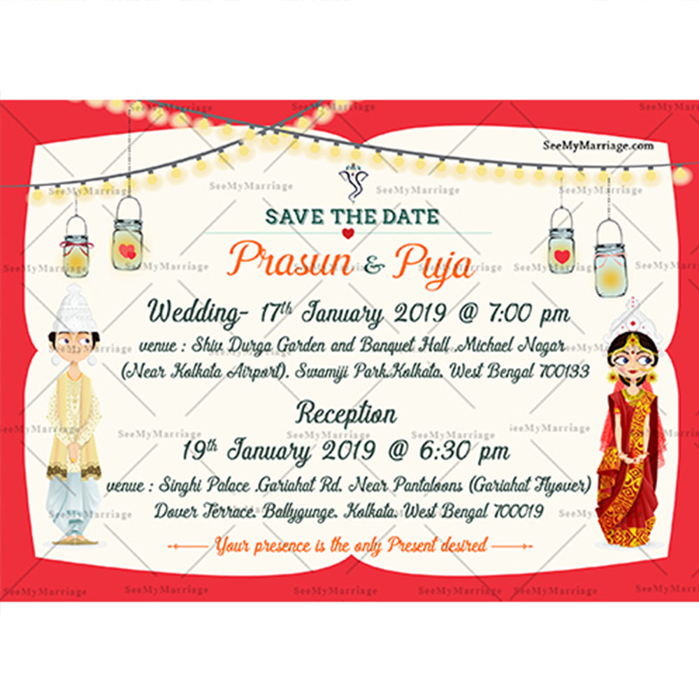 Bride Of Bengal A Cute Bengali Couple Theme Traditional Wedding Save The Date Whatsapp Invitation E Card Seemymarriage