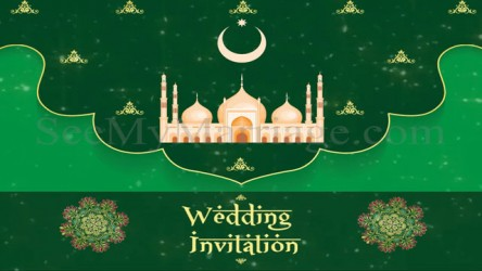 Cute Muslim Couple Mosque Background And Green Theme Video With Fireworks And Celebrations Seemymarriage