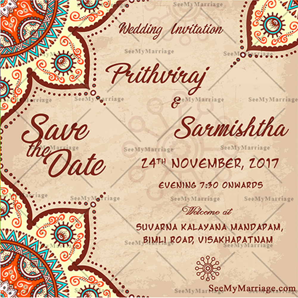 Beautiful Royal Theme Floral Design Wedding Save The Date Whatsapp Invitation E Card
