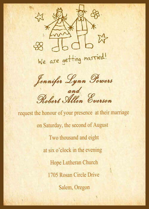 Hand Written Invitation Cards for