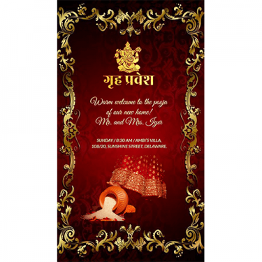 Create Housewarming Party Invitations Griha Pravesh Cards