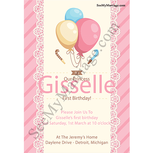Pink Theme Little Princess 1st Birthday E Card Invitation Designed With Colorful Balloons Retro Type Watercolor Background White Frame