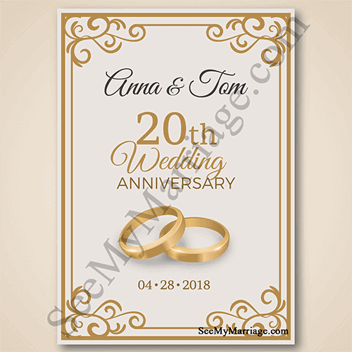 Incredible Luxurious Golden Theme Bangles With Floral Frame Decoration Type 20th Wedding Anniversary Save The Date Whatsapp E Card