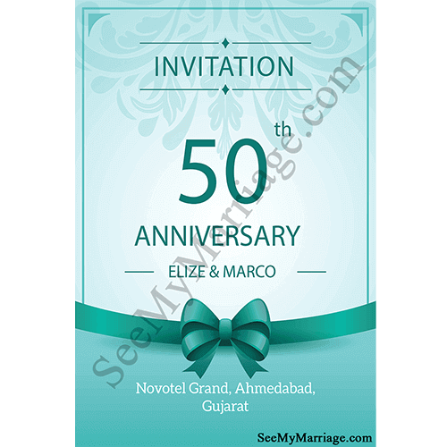 Glossy Shining Blue Theme Floral With Ribbon Decorated Frame Type Diamond Jubilee 50th Wedding Anniversary Invitation E Card