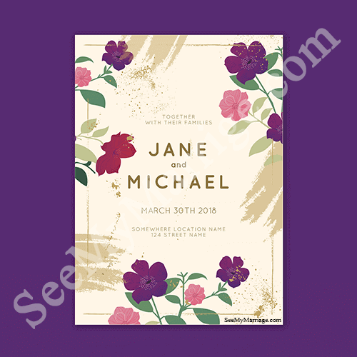 Purple And Pink Floral With Cream Background Brush Painting Effect Spring Theme Modern Formal Invitation Save The Date E Card