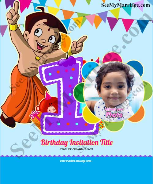 Chota Bheem 1st Birthday Invite In Colorful Party Theme With Baby Pic And Balloons Background SeeMyMarriage