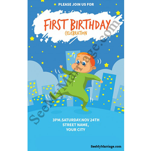Bump Up – Night Party Theme Birthday Invitation Card with Baby Boy Dancing  Poster with City Background