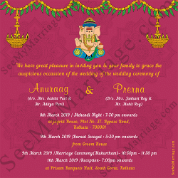 Pink Theme Ganesha Style With Floral Decorated Traditional South Indian Hindu Wedding