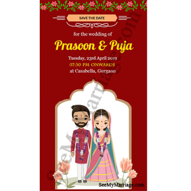 Cute Hindu Couple Red Theme Cartoon Save the Date Wedding
