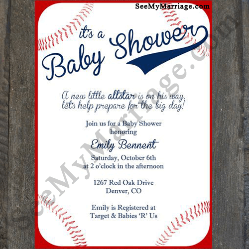 Kudos Its A Baby Boy Red Bordered Base Ball Theme Baby Shower Invitation Card With Ball In Background