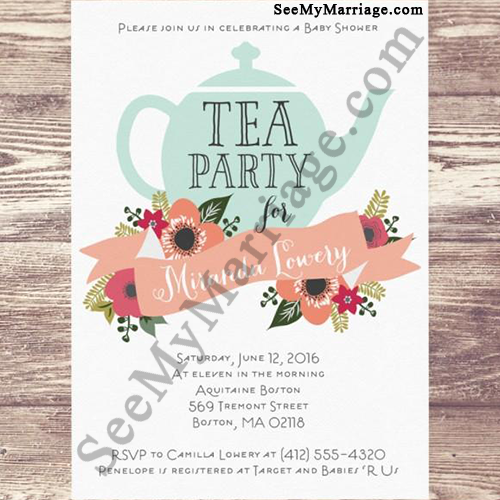 High Tea Get Together Party Theme Baby Shower Invitation Card