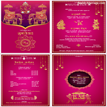 Pink And Gold Theme Studs Plated Pdf Invitation Ganesha Idol Wedding Couple Characters Palanquin Image With Hanging Diyas Hindi Language Wedding