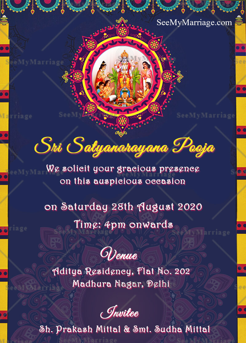 Griha Pravesh And Satyanarayan Puja Golden Boarder Theme Traditional Glossy Look Floral Whatsapp Invitation Card