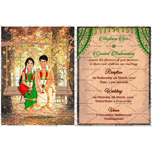 Oonjal Ceremony Swing Theme Traditional South Indian Wedding Invitation Ecard With Couple Caricatures Seemymarriage