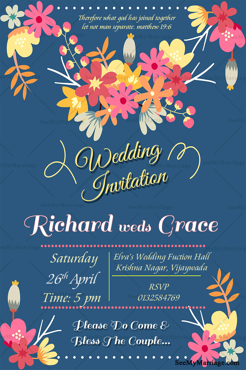 a fulfilling marriage bluish floral theme traditional